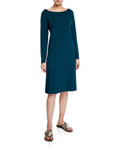 Eileen Fisher Jersey Bateau-Neck Long-Sleeve Dress