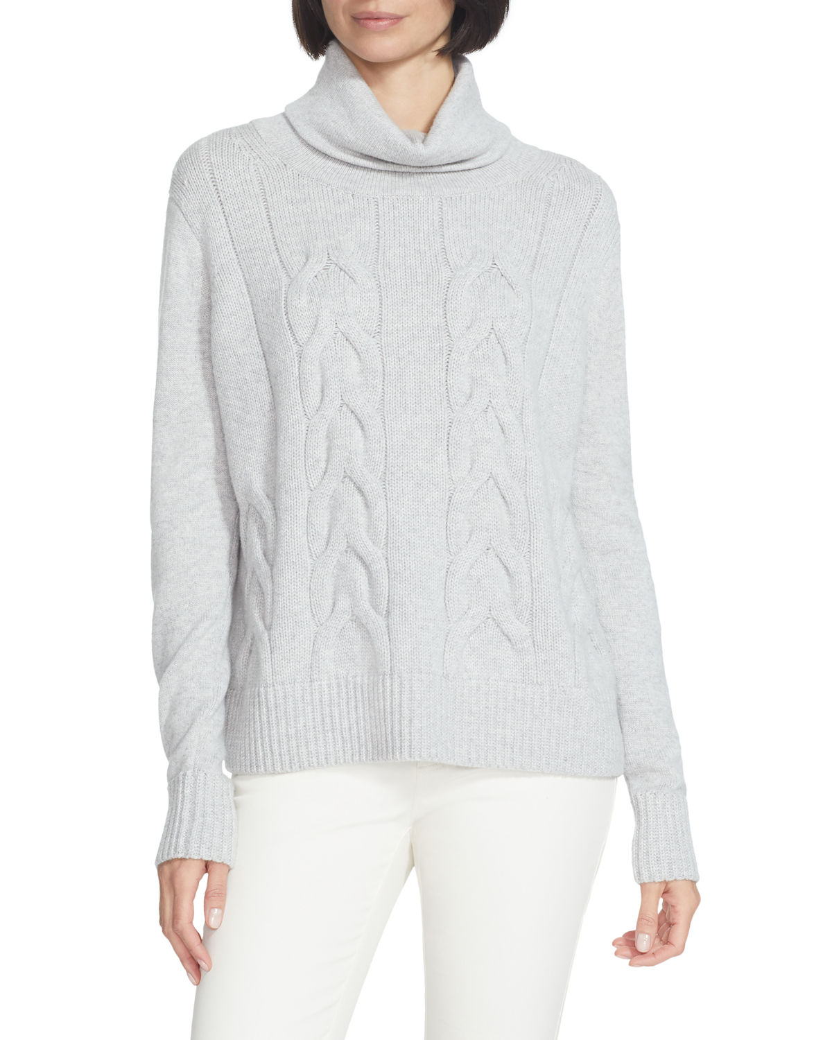 Lafayette 148 Sweaters CASHMERE FUNNEL-NECK CABLE SWEATER