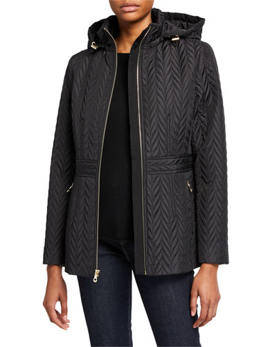 quilted chevron funnel-neck midi jacket