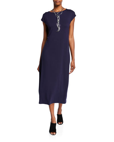 Cap-Sleeve Tie Front/Back Midi Jersey Dress