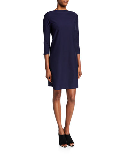 Plus Size 3/4-Sleeve Washable Stretch-Crepe Dress