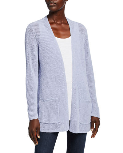 Organic Linen/Cotton Tape-Yarn Simple Cardigan