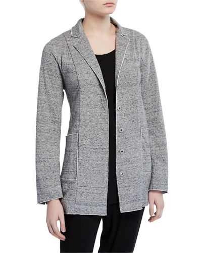 Plus Size Double-Layer Organic Cotton Notch-Collar Jacket