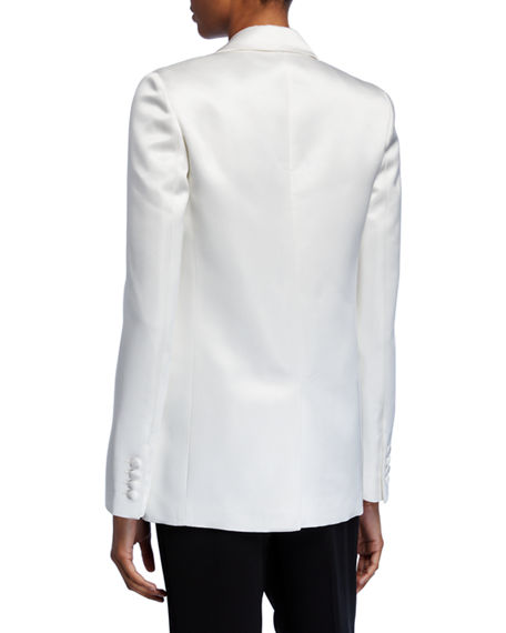 Image 4 of 4: Helmut Lang Two-Button Satin Blazer