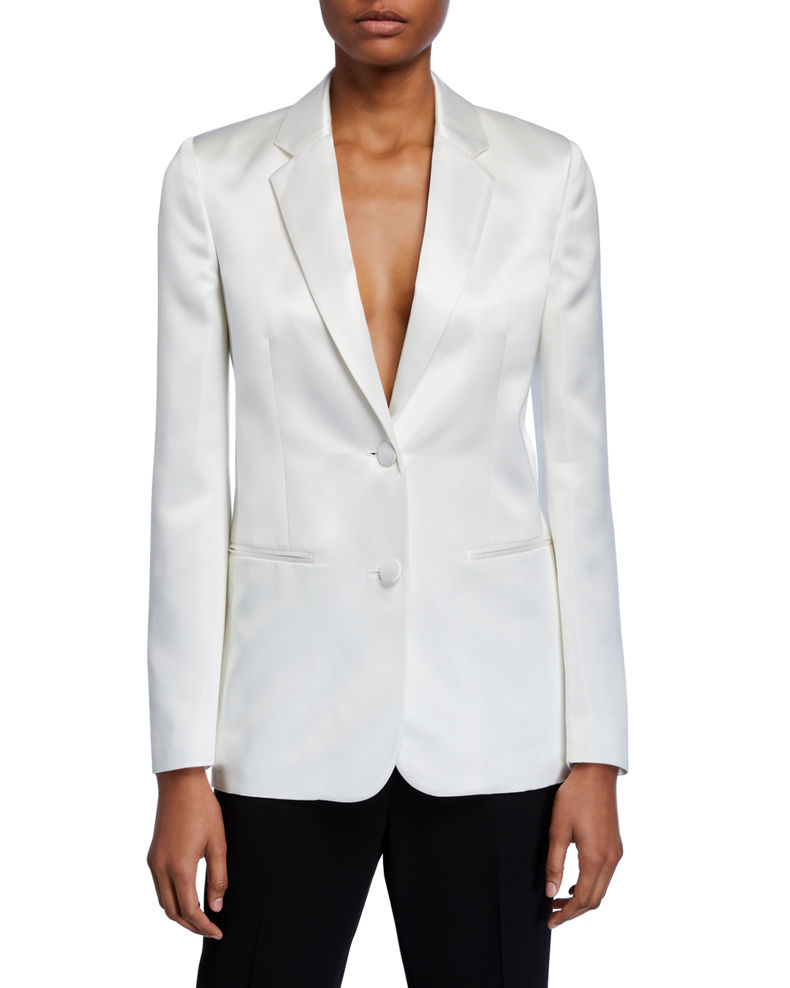 Helmut Lang Two-Button Satin Blazer