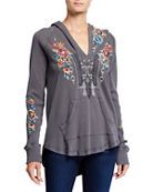 Johnny Was Petite Embroidered Cotton Thermal Sweatshirt and