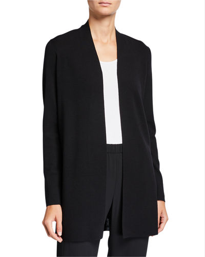 Petite Ultrafine Merino Wool Straight Long Cardigan