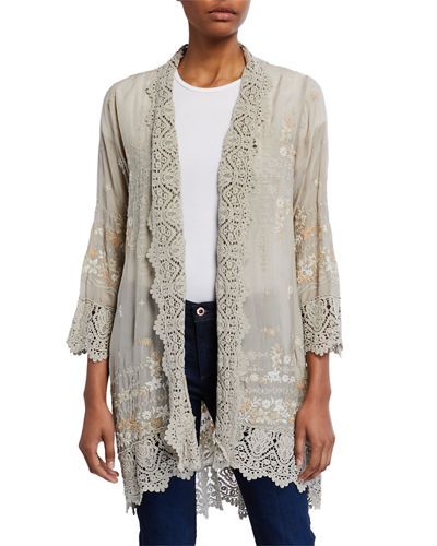 Plus Size Celeste Crochet-Edge Cardigan