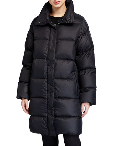 Eileen Fisher Recycled Nylon Funnel-Neck Puffer Coat