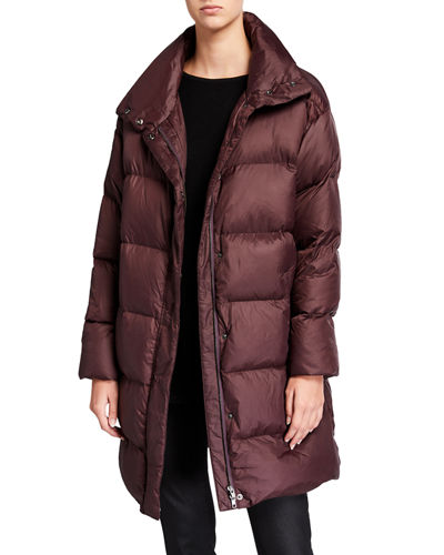 Recycled Nylon Funnel-Neck Puffer Coat
