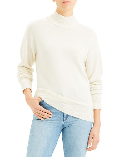 Whipstitch Cashmere Turtleneck Sweater
