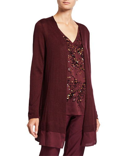 Contessa Long Cardigan with Sheer Trim