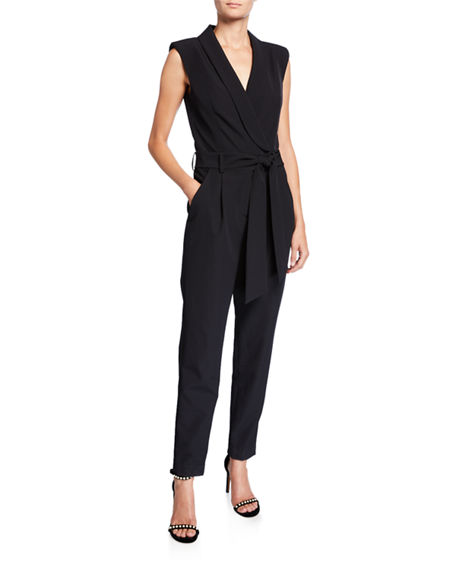 Milly Suits JADA SLEEVELESS CADY JUMPSUIT