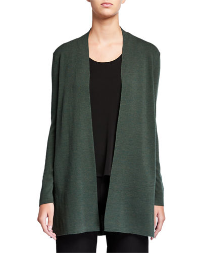 Plus Size Ultrafine Merino Wool Straight Long Cardigan