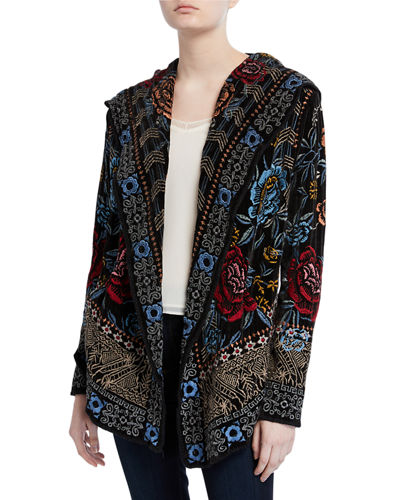 Plus Size Pasca Embroidered Chenille Short Hoodie Jacket