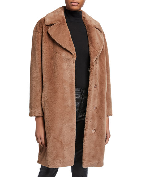 Image 2 of 3: STAND Camile Faux Fur Cocoon Coat
