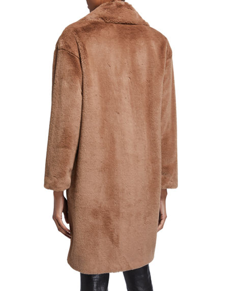 Image 3 of 3: STAND Camile Faux Fur Cocoon Coat