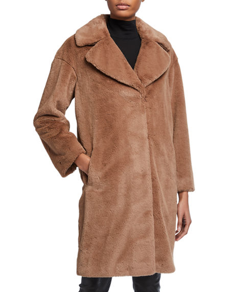 Image 1 of 3: STAND Camile Faux Fur Cocoon Coat
