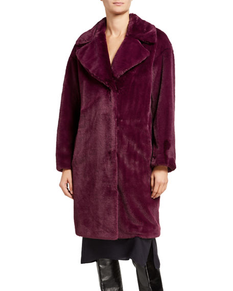 STAND Camile Faux Fur Cocoon Coat