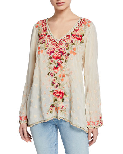 Petite Cristabella V-Neck Floral Embroidered Top