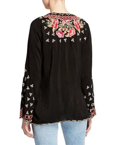 Johnny Was Cristabella V-Neck Floral Embroidered Top