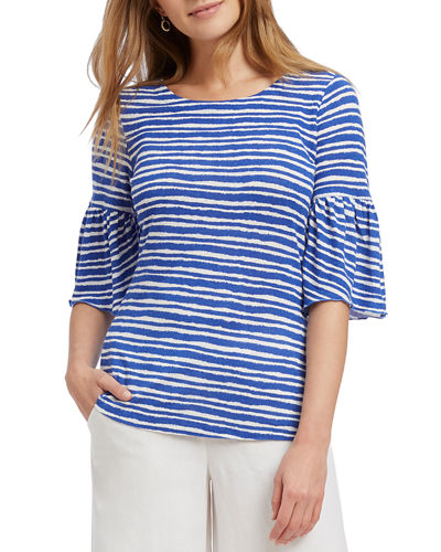 Nantucket Striped Elbow-Sleeve Top