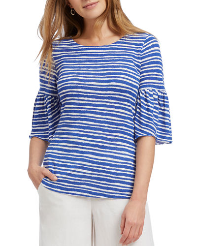 NIC+ZOE Plus Size Nantucket Striped Ruffle-Sleeve Top