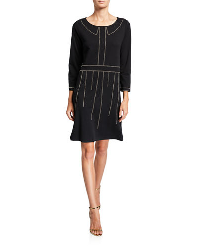 Boat-Neck 3/4-Sleeve Dress with Studs