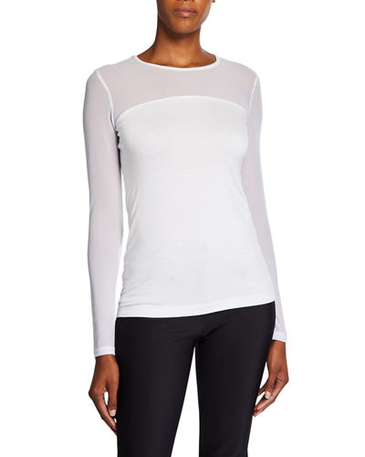 Budah Long-Sleeve Mesh Top