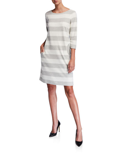 Striped Boat-Neck 3/4-Sleeve Dress with Pockets