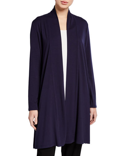 Plus Size Open-Front Jersey Straight Cardigan