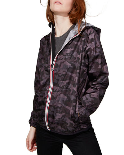 Sloane Printed Full-Zip Packable Rain Jacket