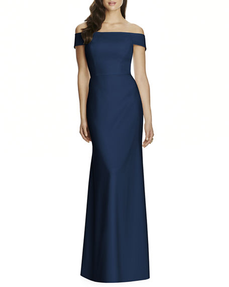 Dessy Collection Off-the-Shoulder Crepe Gown