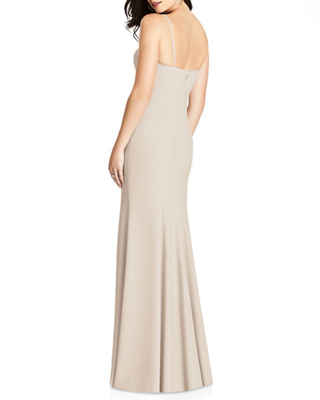 Image 2 of 2: Dessy Collection V-Neck Spaghetti-Strap Gown w/ Slit