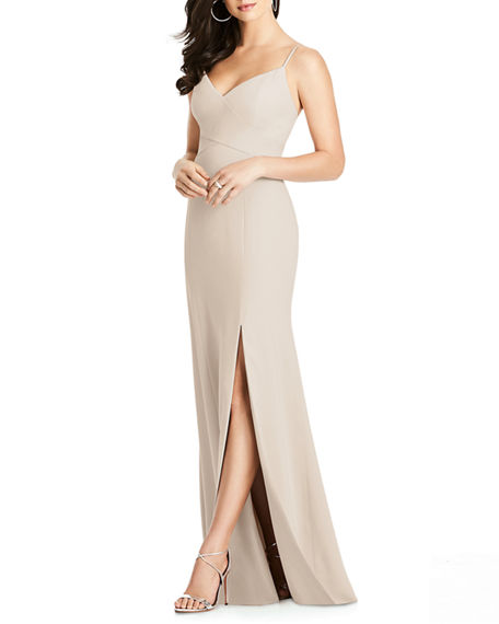 Image 1 of 2: Dessy Collection V-Neck Spaghetti-Strap Gown w/ Slit