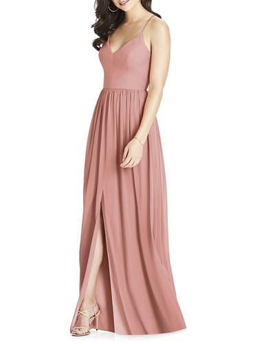 V-Neck Crossback Lux Chiffon Gown