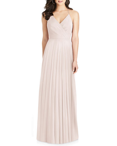 Lux Chiffon Halter Gown with Ruffle Details