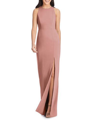 Open-Back Sleeveless Crepe Column Gown w/ Slit