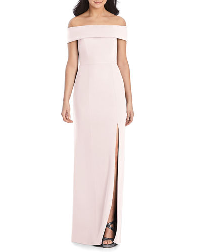 Off-the-Shoulder Crepe Column Gown w/ Slit