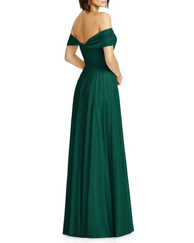 Dessy Collection Lux Chiffon Off-Shoulder Sweetheart A-Line Gown