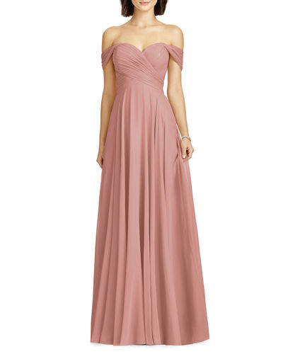Lux Chiffon Off-Shoulder Sweetheart A-Line Gown