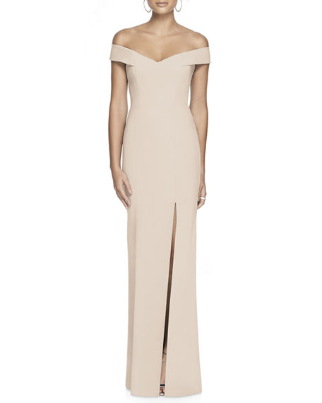 Dessy Collection Off-the-Shoulder Short-Sleeve Column Gown w/ Slit