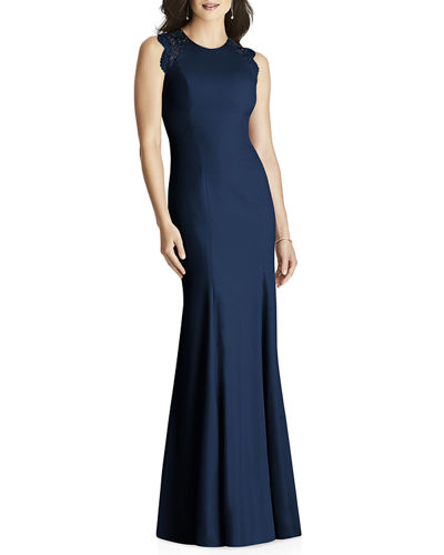 Sleeveless Crepe Column Gown with Lace