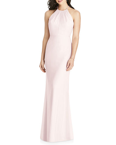 Chiffon Halter Dress w/ Ruffle-Trim