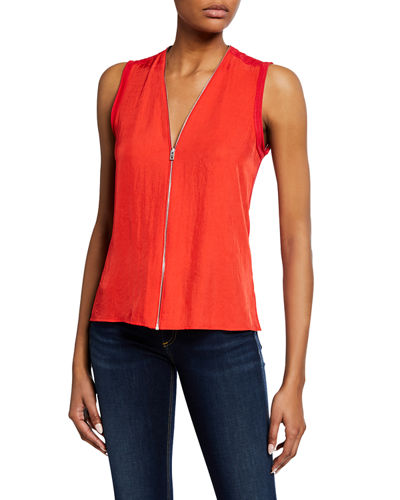 Valerie Zip-Front Sleeveless Top