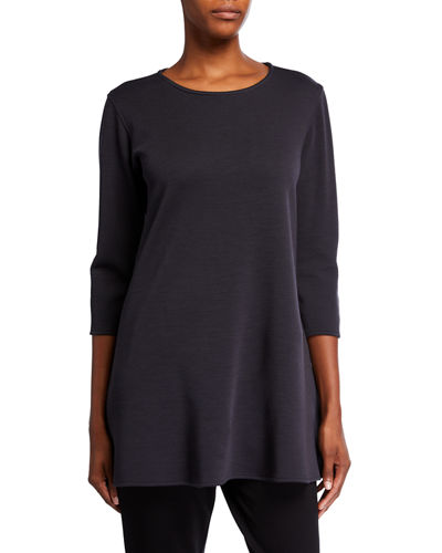 Plus Size Ponte Luxe Flare 3/4-Sleeve Tunic
