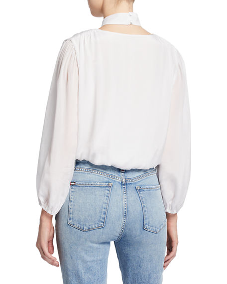 Image 2 of 2: Alice + Olivia Blouson-Sleeve Crop Top