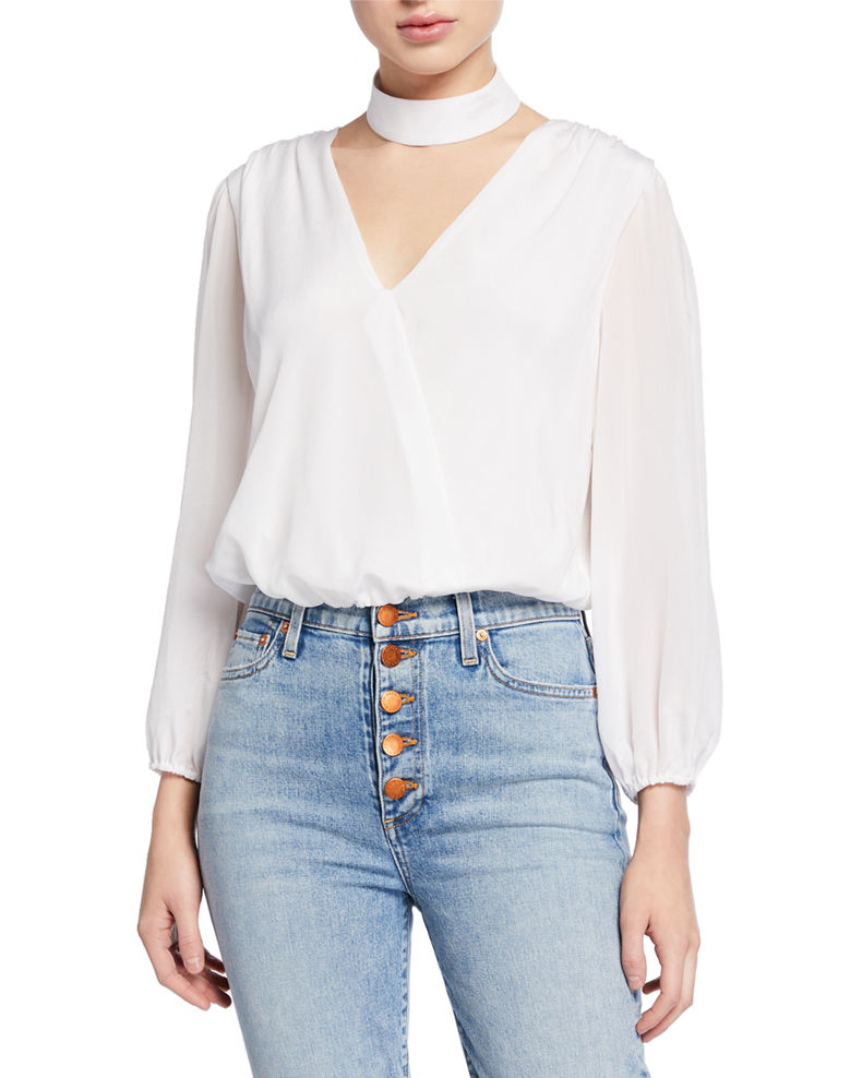 Alice + Olivia Blouson-Sleeve Crop Top
