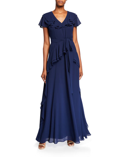 V-Neck Ruffle Georgette Flutter-Sleeve Gown