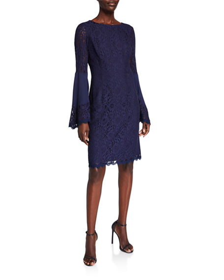 Shani Boho Flared-Sleeve Lace Sheath Dress
